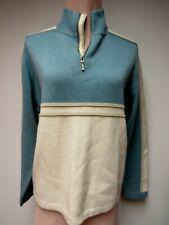 Vtg Meister Wool Blend Mens Ski Sweater Top Aqua Off White Khaki Hong Kong L Euc
