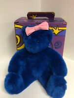 Vermont Teddy Bear Company Blue Bear With Pink Bow