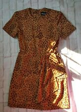 Sag Harbor Dress Womens 4 Petite 4P Brown Animal Print Leopard Short Sleeve S