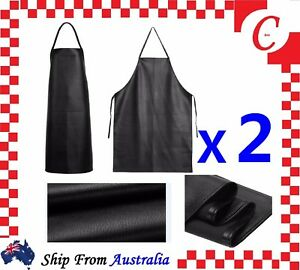 2X PU Leather Waterproof Waiter Chef Kitchen Cooking Welding Blacksmith Apron