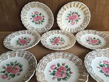 "8 Sebring Pottery Co. China Bouquet Rose 6"" saucers for tea cups"