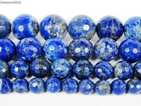 100% Natural Lapis Lazuli Gemstone Faceted Round Beads 15'' 6mm 8mm 10mm 12mm