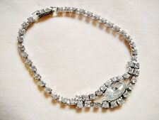 RHINESTONE TENNIS BRACELET W/LARGE MULTI-FACETED OVAL STONE