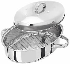Judge Roasting Pan Stainless Steel High Oval Oven Roaster - Thermic Base - TC182