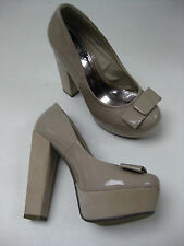 Ladies beige leather COURT SHOES PLATFORMS chunky killer heels size UK 4 sexy