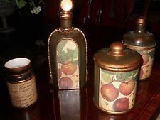 Italian Green with Gold and Fruit  Decorative Ceramic Container Set of Four