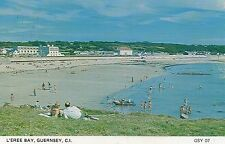 VINTAGE Picture Postcard L'Eree Bay GUERNSEY Channel Islands sixties beach scene