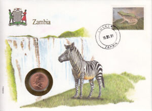 ZAMBIA, ENVELOPE SOUVENIR, AVEC MONNAIE