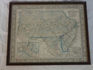 ANTIQUE 1860 COUNTY MAP OF PENNSYLVANIA NEW JERSEY MARYLAND & DELAWARE