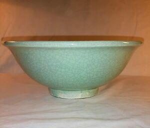 Antique Korean Porcelain Celadon Crackle Glaze Bowl Circa 1920