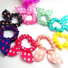 Korean Cute Kawaii 10PCS/LOT Rabbit Ear Hair Tie Bands Dot Bow Headband