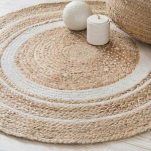 Natural Fibres, Reversible Carpet, Hand Woven Classic Jute Rug -70 cm Round