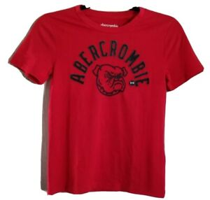 Abercrombie Kids Muscle Tee Shirt Bulldog Applique Embroidered Red NEW Size 9/10