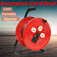 220V Multi-Outlet 3 Plug Heavy Duty red Extension Cord Storage Wind-Up Reel