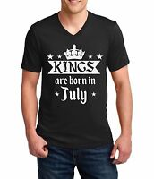 V-neck Kings Are Born In July Shirt Birthday Gift For Men T-Shirt Fathers Day