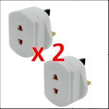 2 Pack Shaver 2 Pin To UK 3 Plug Converter Adaptor Plug White MSC (2 Pack)