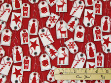 Frosty Friends Holiday Tags Christmas FLANNEL Fabric by the 1/2 Yard #F6980