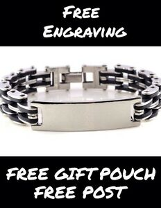PERSONALISED Mens stainless steel / Rubber ID bracelet engraved Husband Son Gift