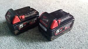 X2  Genuine Milwaukee M18 18V  5Ah Battery- Red.