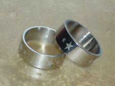 RING EDELSTAHL RING 2 STUECK PARTNERRING STERNE STARS  NEU  GR 17-22