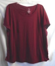 DANSKIN WINE TOP SIDE SHIRRED TEE SLEEVELESS BLOUSE CREW NECK 4X 26W 26W