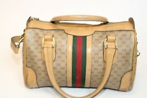 Gucci Italy Made Distressed Vintage Accessory Collection GG Monogram Bowler Bag
