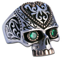 Ring Mens Biker Tribal Mexican Skull sterling silver handmade jewelry 925 Rock