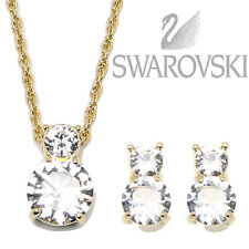 Swarovski Crystal Brilliance Set Necklace & Earrings, Gold Plated 1179712 NEW