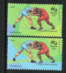BRAZIL 2016 RIO OLYMPIC GAMES - WRESTLING 2 different Stamps MNH