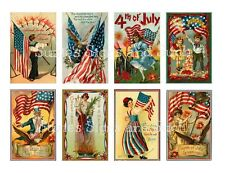 Vintage Postcard 4th of July Stickers Scrapbooking Americana Patriotic Flags