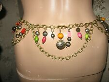 "Vintage 1970-80s Adjustable Wood Beaded Gold Tone Chain Link Swag Belt - 34""L"