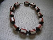 Estate Chunky Faux Red Coral & White Striped Black Ceramic or Glass Barrel Beads