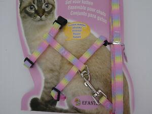(H037) Cat Kitten Adjustable Harness & Lead Set Pink Pastel Rainbow Pattern