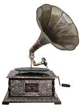 Nostalgie Grammophon Gramophone Dekoration mit Trichter Grammofon Antik-Stil (e)