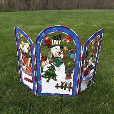 GRANDEUR NOEL CHRISTMAS METAL SNOWMAN-Fireplace Screen Cover- COLLECTORS EDITION
