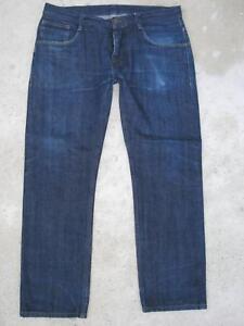 Ben Sherman Uomo Dritto Giapponese Cimosa Jeans 34 X 28 Scuro 100% Cotone