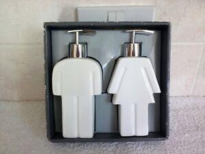 His & Hers Ceramic Soap Dispenser Set Unused