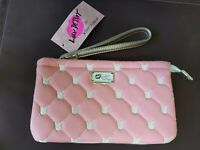 NWT Luv Betsey Johnson Soft Pink Quilted Cat Double Pouch Wristlet Wallet New