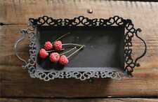 Creative Co-Op Decorative Metal Serving Tray with Handles - Rustic Black