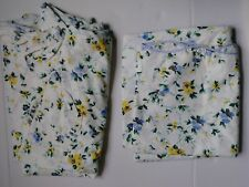 Laura Ashley Priory Full Flat Fitted Sheets Blue Yellow Floral Cotton Blend USA
