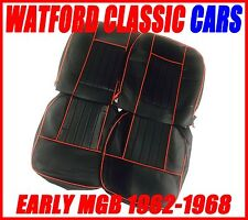 MGB Roadster and GT Seat Covers 1962 -1968 Black / Red Does a PAIR of Seats.