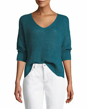 NWT $228 Eileen Fisher TEAL Organic Linen Delave 3/4-Sleeve V-Neck Sweater L