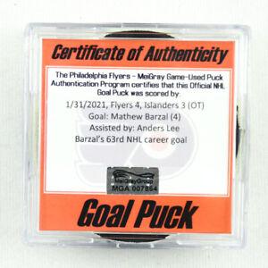 2020-21 Mathew Barzal New York Islanders Game-Used Goal-Scored Puck -Anders Lee