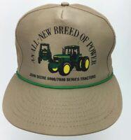 VTG John Deere Tractors Trucker Strapback Hat Khaki 6000 7000 Series Farm Seed E