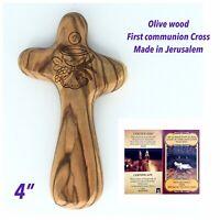 Olive Wood Holding Comfort Cross engraved First Holy Communion Favor Jerusalem