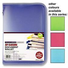 Premier Office A4 Coloured Wallet Zipped Document Storage Folder Portfolio x 1