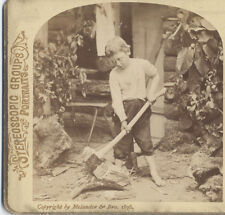 STEREOVIEW, DISTRAUGHT BOY CHOPPING WOOD IN GARDEN. CHIPS OF THE OLD BLOCK.