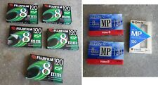 Lot of 8 FUJIFILM 120 & SONY MP 8mm Video Cassette Tapes P6-120 - NEW, SEALED!