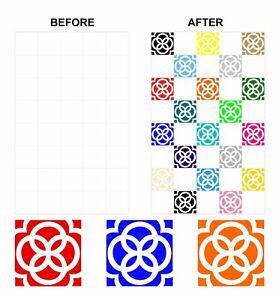 Mosaic Tile Stickers Azulejo Talivera for 150mm x 150mm / 6 x 6 Inch Tiles CG07