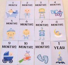 BLUE BABY BOY MILESTONE CARDS MONTHS 1-11 & 1 YEAR BABY SHOWER